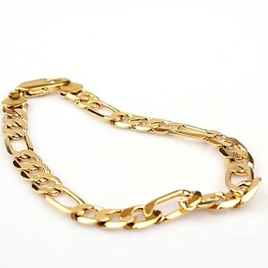 Erkek Zincir & Halka Bileklikler Klasik Moda Altın Bakır Altın Kaplama Mücevher Mücevher Parti Günlük Kostüm takısı