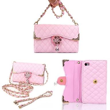 flori si diamante din aliaj colier brățară din piele plin corp de caz portofel pungă pentru iPhone 4 / 4s (culori asortate)