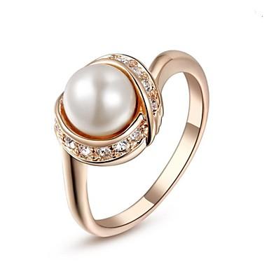 Mulheres Cristal / Imitação de Pérola / Chapeado Dourado Anel de declaração - Fashion Prata / Dourado Anel Para Casamento / Festa / Diário