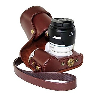 pajiatu® pu leer oliehuid camera beschermhoes voor Samsung NX300 18-55mm lens of prime lens