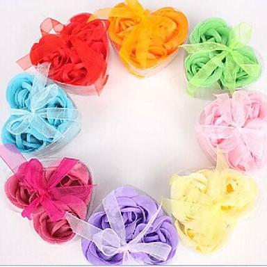 vakantie geschenken 3 romantische hartvormige roze zeep bloemen (willekeurige kleur)