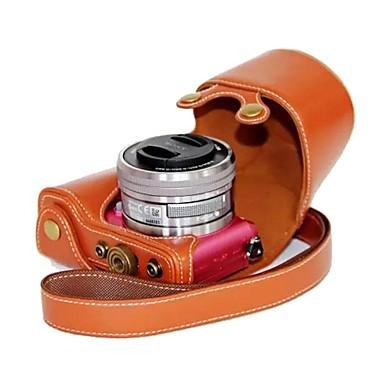dengpin® για sony a5100 ilce-5100l δερμάτινη θήκη φωτογραφικής μηχανής τσάντα κάλυμμα με ιμάντα ώμου στυλ φόρτισης
