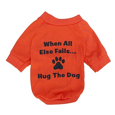 Kat Hond T-shirt Hondenkleding Letter & Nummer Oranje Katoen Kostuum Voor huisdieren