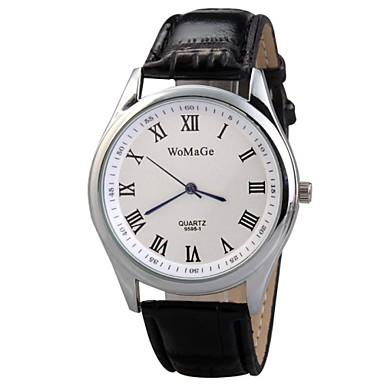 Masculino Relógio Elegante Quartzo Couro Banda Preta Branco Vermelho Marrom