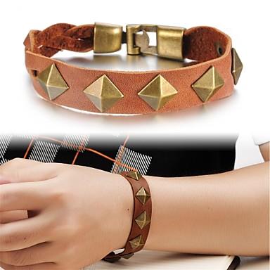 liga de bronze pulseira de couro rebites homens
