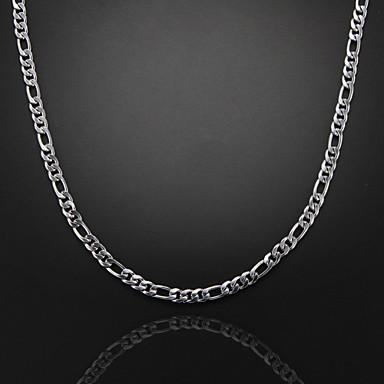 billige Damesmykker-Kjedehalskjeder Figaro kjede Mariner Chain Unikt design Mote Sølvplett Sølv Halskjeder Smykker Til Julegaver Fest Gave Daglig Avslappet