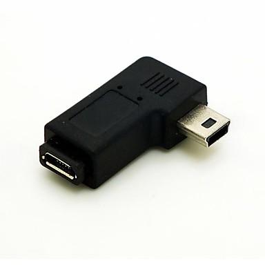 haakse 90 graden mini usb male naar micro usb vrouwelijke uitbreiding adapter conventer snoer kabel connector gratis verzending