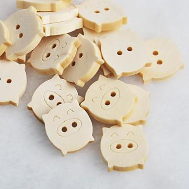 piggy scrapbook scraft naaien diy houten knopen (10 stuks)