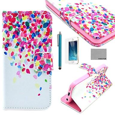 tok Για iPhone 5 Θήκη iPhone 5 Θήκη καρτών με βάση στήριξης Πλήρης κάλυψη Πλακάκι Σκληρή PU δέρμα για iPhone SE/5s iPhone 5