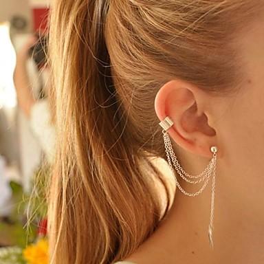 Kadın's Klipsli Küpeler Kulak Manşetleri Küpe - Gümüş Kaplama Leaf Shape Kişiselleştirilmiş, Avrupa, Moda Gümüş / Altın Uyumluluk Parti Doğumgünü Günlük