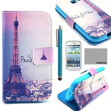Pentru Titluar Card / Cu Stand / Întoarce / Model Maska Corp Plin Maska Turnul Eiffel Greu PU piele Samsung Trend Lite