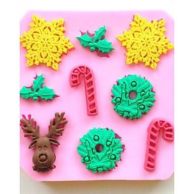 Kerst herten sneeuwvlok kruk fondant cake chocolade siliconen mal taart decoratie gereedschappen, l9.7 * w9.7 * h1cm