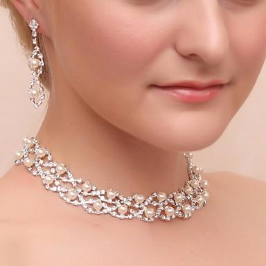 muhteşem alaşım yapay elmas düğün gelinlik kolye ve küpe takı seti