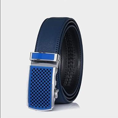 mannen echt lederen riem blauw automatische gesp cintos riemen