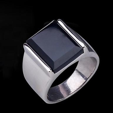 Ανδρικά Συνθετικό ζαφείρι / Πετράδι Φυσικό Μαύρο Band Ring / Δακτύλιος Δήλωσης / Δαχτυλίδι - Ανοξείδωτο Ατσάλι Βίντατζ, Καθημερινό, Ευρωπαϊκό Ασημί Για Δώρο
