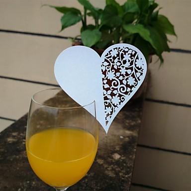 12st laser gesneden hart cup kaarten naam plaats escort kaart voor wijn glas huwelijk baby shower christmas party decoratie