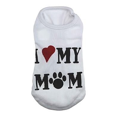 Kedi Köpek Tişört Köpek Giyimi Kalp Harf & Sayı Beyaz Terylene Kostüm Evcil hayvanlar için