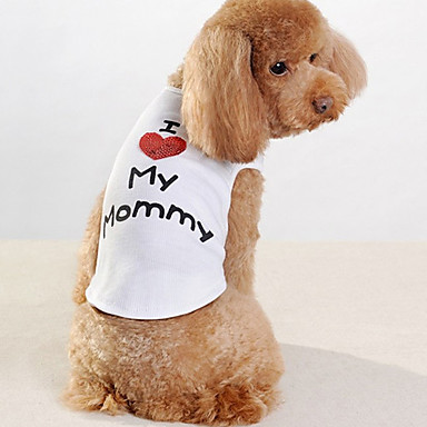 Hond T-shirt Hondenkleding Letter & Nummer Wit Katoen Kostuum Voor huisdieren