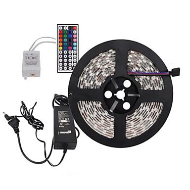 5m Flexible LED-Leuchtstreifen / Lichtsets / Leuchtbänder RGB LEDs 5050 SMD Fernbedienungskontrolle / Schneidbar / Abblendbar 100-240 V / Verbindbar / Selbstklebend