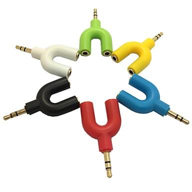 billige Kabler og adaptere-3,5 mm stereo audio y splitter 2 kvindelige til 1 dobbelt han kabel adapter til hovedtelefon (assorteret farve)