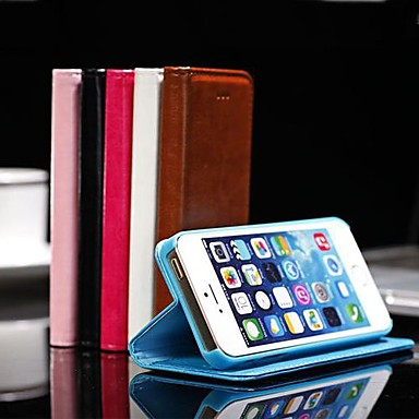 hoesje Voor iPhone 5 hoesje Kaarthouder Portemonnee met standaard Flip Volledige behuizing Effen Kleur Hard PU-leer voor iPhone SE/5s