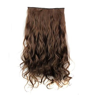 Gerçek Saç Postişleri Bukle Klasik Ek saç Klips İçeri / Dışarı Kahverengi Günlük