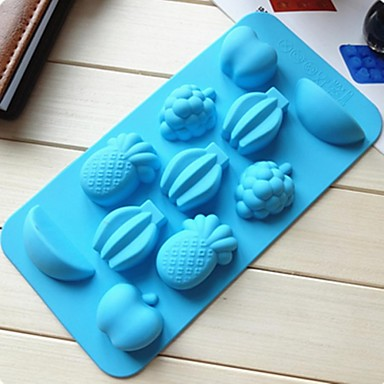 11 buracos molde geléia molde bolo de frutas gelo chocolate, silicone 20 × 10,5 × 16,5 centímetros (7,9 × 4,1 × 6,5 polegadas)