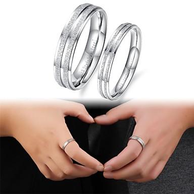 Casal Anéis de Casal bijuterias Aço Titânio Jóias Para Casamento Festa Diário Casual Esportes