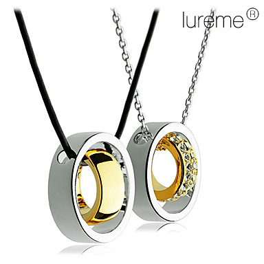 Lureme®Couple' Real Gold Plated Double Ring Crytal Inlaid Necklace(2 PC)