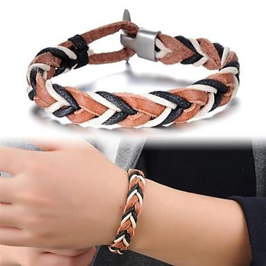 linha de cor de couro da moda tecido pulseira masculina