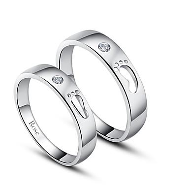 gepersonaliseerde gift eenvoudige 925 sterling zilveren koppels ringen