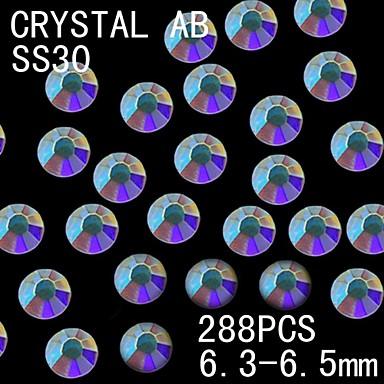 288pcs 6.3-6.5mm ab χρώμα λάμψη flatback κρύσταλλο rhinestone διακόσμηση καρφί τέχνης