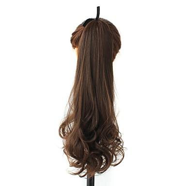 Σγουρά Αλογορουρές Συνθετικός Κομμάτι μαλλιών Hair Extension Μπεζ Καθημερινά