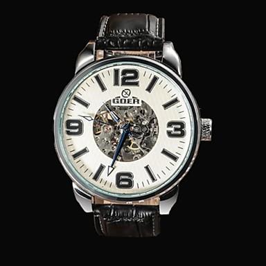 Masculino Relógio Esqueleto relógio mecânico Automático - da corda automáticamente Gravação Oca Couro Banda Preta Branco Preto