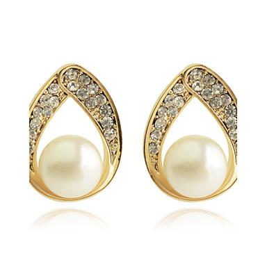 Dames Oorknopjes Druppel oorbellen Luxe Modieus Hol Parel Kristal Verguld Gesimuleerde diamant Drop Sieraden Feest Dagelijks Causaal