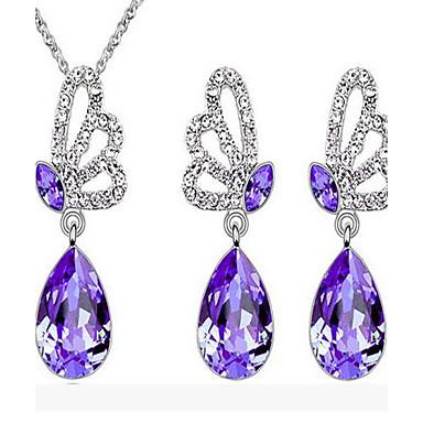 Κρυστάλλινο Κρύσταλλο Αυστριακό κρύσταλλο Κοσμήματα Σετ Cercei Κολιέ - Πεταλούδα Ζώο Βυσσινί Πράσινο Μπλε Ροζ Για Γάμου Πάρτι Καθημερινά
