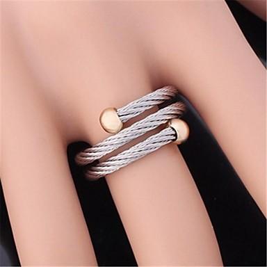 Kadın's Bildiri Yüzüğü - Paslanmaz Çelik, Altın Kaplama Ayarlanabilir Uyumluluk Düğün / Parti / Günlük