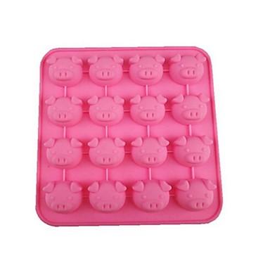 16 holes varken hoofd vorm taart ijs gelei chocolade mallen, siliconen 17 × 17 × 2 cm (6,7 × 6,7 × 0,8 inch)
