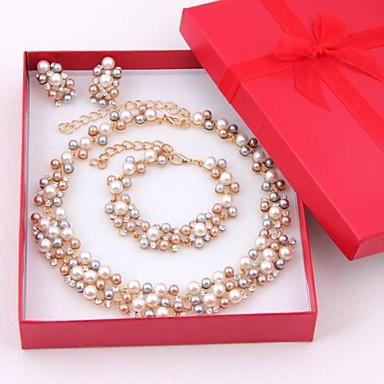 Pentru femei Multicolor Perle Seturi de bijuterii Cercei Picătură Brățări cu Mărgele femei Elegant de Mireasă Perle Ștras Placat Auriu cercei Bijuterii Auriu / Alb Pentru Nuntă Petrecere Ocazie
