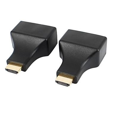 ieftine HDMI-HDMI RJ45 pisica-5e / 6 HD adaptoare de extensie semnal 3d - negru (2 buc)