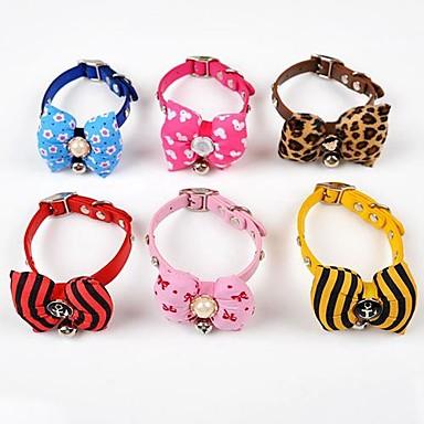 Hunde Halsbänder Regolabile/Einziehbar / Schleife / Perlen Rot / Schwarz / Blau / Braun / Rosa / Gelb / Purpur PU Leder