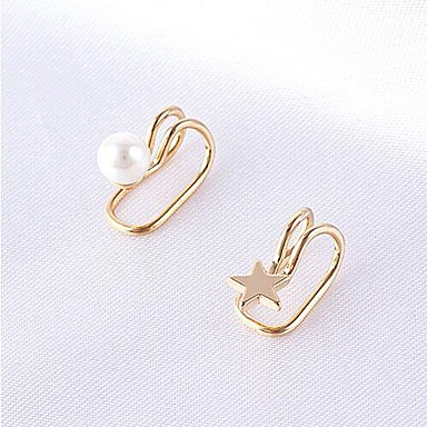 Mulheres Brincos com Clipe Punhos da orelha Estilo simples Estilo bonito bijuterias Pérola Liga Estrela Jóias Para Festa Diário Casual