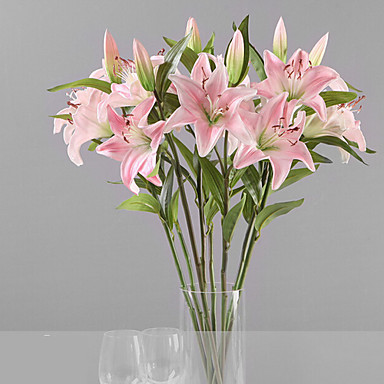 Ψεύτικα λουλούδια 1 Κλαδί μινιμαλιστικό στυλ Κρίνοι Λουλούδι για Τραπέζι