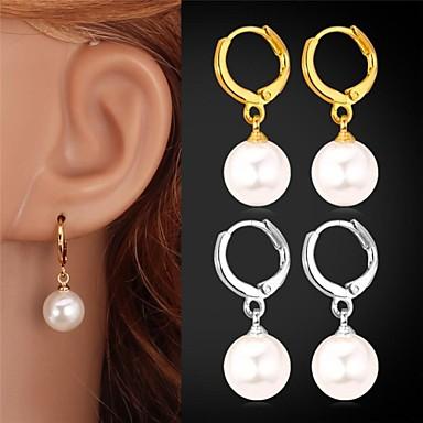 Perle Tropfen-Ohrringe - Perle, Künstliche Perle, Platiert Geburtssteine Silber / Golden Für Hochzeit Party Alltag / vergoldet