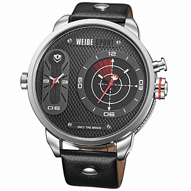 militray ρολόι μεγάλο μέγεθος διπλής ζώνες ώρας χαλαζία δερμάτινο λουράκι  weide® ανδρών (διάφορα χρώματα 38bf8a06c5b
