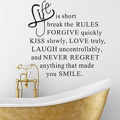 muurstickers muur stickers, het leven is kort engels woorden& citeert pvc muurstickers