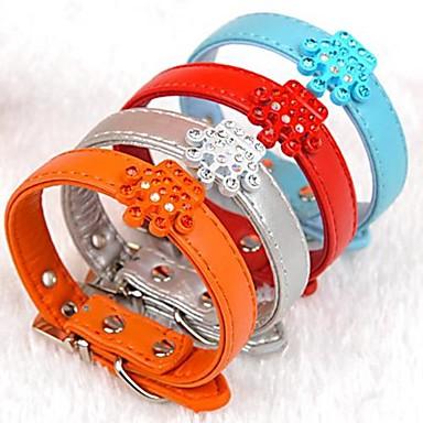 einstellbare PU-Leder Krone geformt Strass verziert Kragen für Hunde (farblich sortiert)