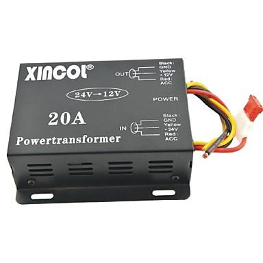 billige Strøm Omformer-xincol® køretøj bil dc 24v til 12v 20a strømforsyning transformer konverter-sort