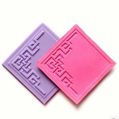 dantel kabartma * w7.1cm * h0.4cm fondan kek çikolata silikon kalıp pedi, kek dekorasyon araçları, l7.2cm ölür