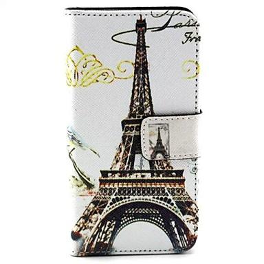 Eiffeltoren patroon pu lederen portemonnee stand-functie holster hoesje voor Huawei y330
